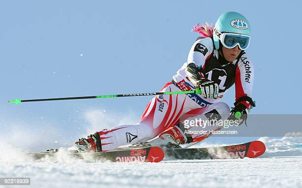 Eva-Maria Brem of Austria competes in the Women's giant slalom event of the Woman's Alpine Skiing FIS World Cup at the Rettenbachgletscher on October...