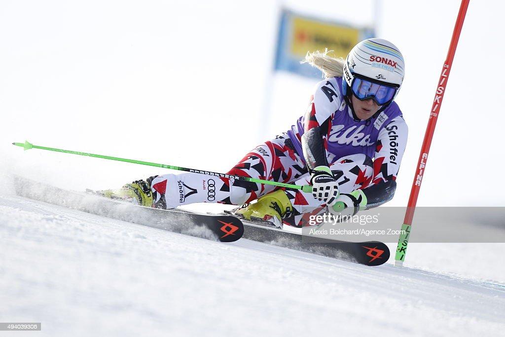 Eva-Maria Brem of Austria in action during the Audi FIS Alpine Ski World Cup Women's Giant Slalom on October 24, 2015 in Soelden, Austria.