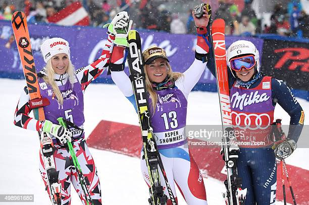 EvaMaria Brem of Austria Lara Gut of Switzerland Federica Brignone of Italy on the podium during the Audi FIS Alpine Ski World Cup Women's Giant...