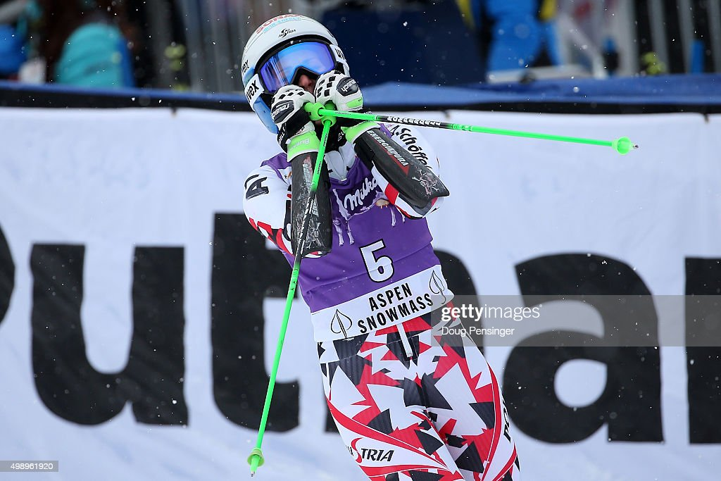 Eva-Maria Brem of Austria reacts after finishing her second run and finishing second in the giant slalom during the Audi FIS Women's Alpine Ski World Cup at the Nature Valley Aspen Winternational on November 27, 2015 in Aspen, Colorado.
