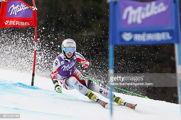 EvaMaria Brem of Austria takes 2nd place in the race and in the overall Giant Slalom World Cup during the Audi FIS Alpine Ski World Cup Finals...