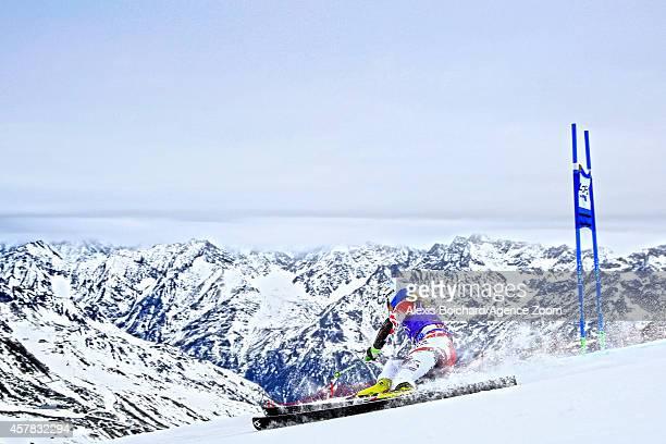 Eva-Maria Brem of Austria takes third place during the Audi FIS Alpine Ski World Cup Women's Giant Slalom on October 25, 2014 in Soelden, Austria.