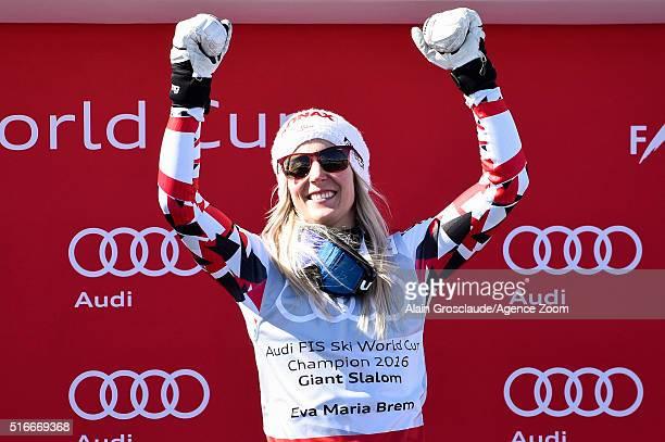 EvaMaria Brem of Austria wins the giant slalom crystal globe during the Audi FIS Alpine Ski World Cup Finals Men's Slalom and Women's Giant Slalom on...