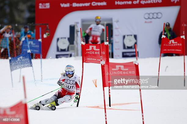 EvaMaria Brem of Team Austria wins a gold medal during the FIS Alpine World Ski Championships Nations Team Event on February 10 2015 in Vail/Beaver...