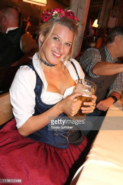 "Eva-Maria Grein von Friedl during the ""ndF Wiesn"" as part of the Oktoberfest 2019 at Kaeferschaenke beer tent Theresienwiese on October 1, 2019 in..."