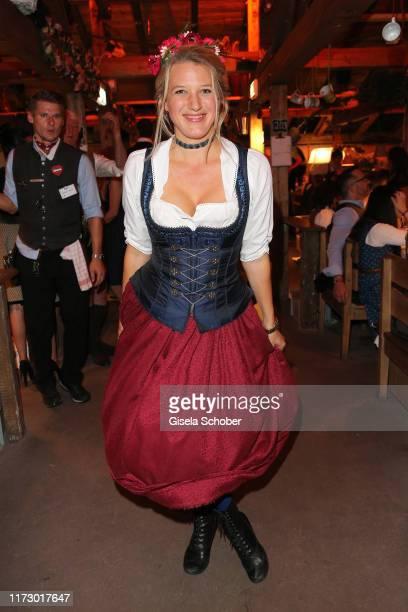 Eva-Maria Grein von Friedl during the Oktoberfest 2019 at Kaeferschaenke beer tent Theresienwiese on October 1, 2019 in Munich, Germany.