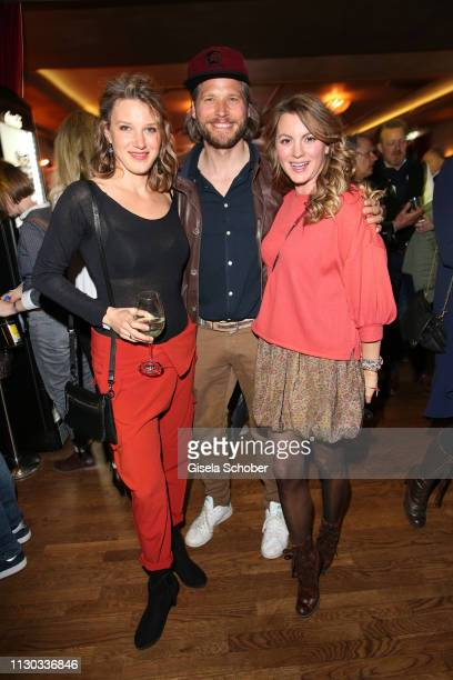 EvaMaria Grein von Friedl Sebastian Stroebel and Luise Baehr during the NdF after work press cocktail at Parkcafe on March 13 2019 in Munich Germany