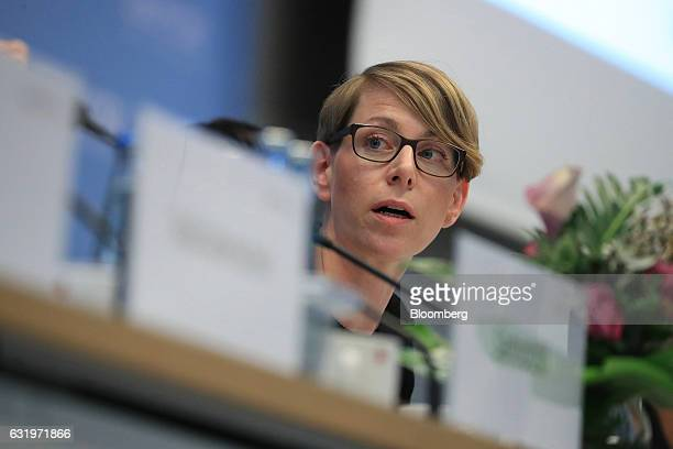 EvaMaria Kirschsieper head of public policy at Facebook Inc speaks during a conference on combating political hate speech and fake news on social...