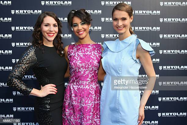 EvaMaria Reichert attends with Jennifer Weller and Miriam Mack the Kryolan MakeUp Shop Opening on May 8 2014 in Munich Germany