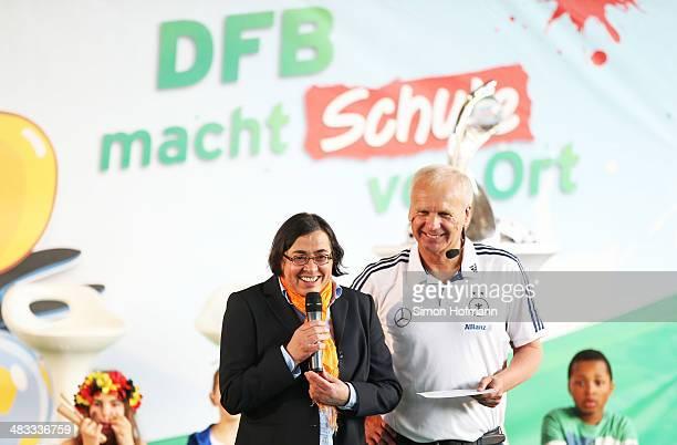 EvaMaria Schneppelt smiles during a visit of Dzennifer Maroszan and Annike Krahn at Adolf Delp Elementary School on April 8 2014 in Mannheim Germany
