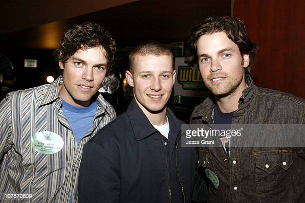 Evan and Jaron with Will Estes during Westwood One Backstage at the GRAMMYS at Staples Center in Los Angeles California United States