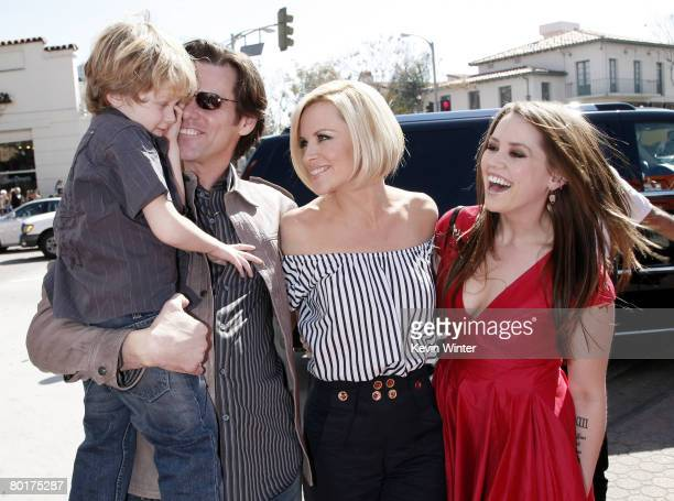 """Evan Asher, son of Jenny, actors Jim Carrey, Jenny McCarthy and Jim's daughter Jane Carrey arrive at the world premiere of 20th Century Fox's """"Horton..."""