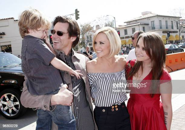 """Evan Asher, son of Jenny, Jim Carrey, Jenny McCarthy and Jim's daughter Jane Carrey arrive at the world premiere of 20th Century Fox's """"Horton Hears..."""