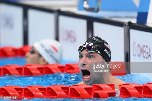 Evan Austin of Team United States competes in Men's 400m Freestyle - S7 final on day 5 of the Tokyo 2020 Paralympic Games at Tokyo Aquatics Centre on...