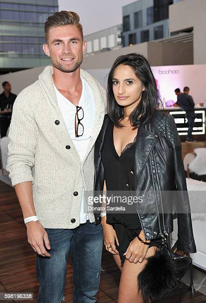 Evan Balsis and Jazmin Whitley attend Boohoo X Jordyn Woods Launch Event at NeueHouse Hollywood on August 31 2016 in Los Angeles California