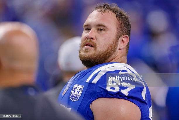 Evan Boehm of the Indianapolis Colts is seen before the game against the Buffalo Bills at Lucas Oil Stadium on October 21 2018 in Indianapolis Indiana