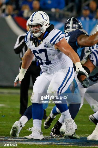 Evan Boehm of the Indianapolis Colts plays against the Tennessee Titans at Nissan Stadium on December 30 2018 in Nashville Tennessee