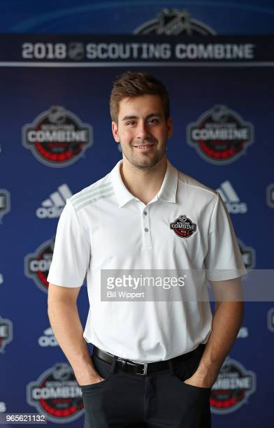 Evan Bouchard attends the Top Prospects Media Availability at the NHL Scouting Combine on June 1 2018 at HarborCenter in Buffalo New York