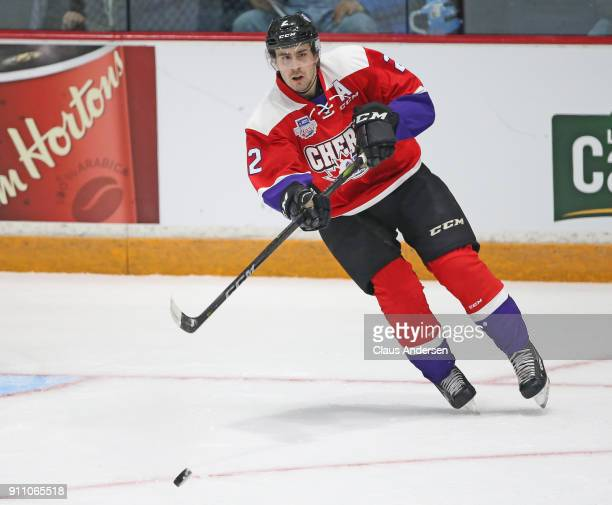 Evan Bouchard of Team Cherry fires a pass against Team Orr in the 2018 SherwinWilliams CHL/NHL Top Prospects game at the Sleeman Centre on January 25...