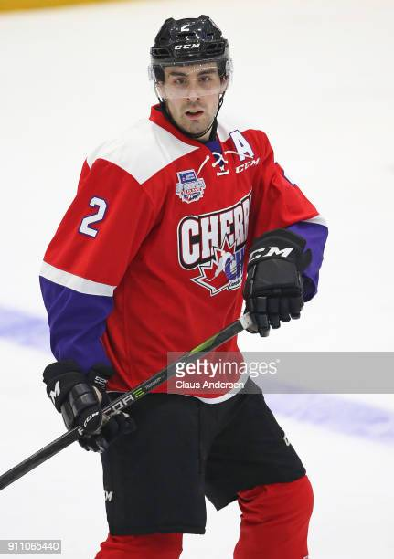 Evan Bouchard of Team Cherry skates against Team Orr in the 2018 SherwinWilliams CHL/NHL Top Prospects game at the Sleeman Centre on January 25 2018...
