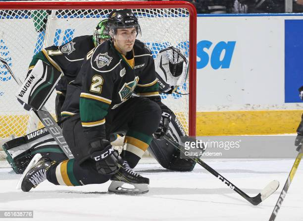 Evan Bouchard of the London Knights gets set to block a shot against the Guelph Storm during an OHL game at Budweiser Gardens on March 9 2017 in...
