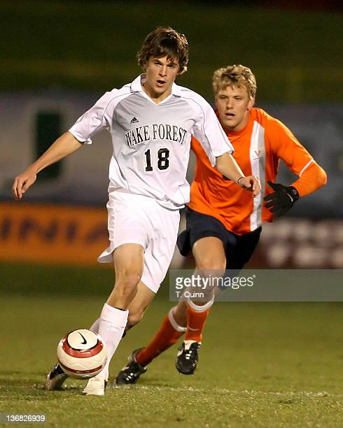 Evan Brown sends off a pass before Adam Cristman can arrive during the 2006 ACC Tournament semifinal match between Wake Forest and Virginia at the...