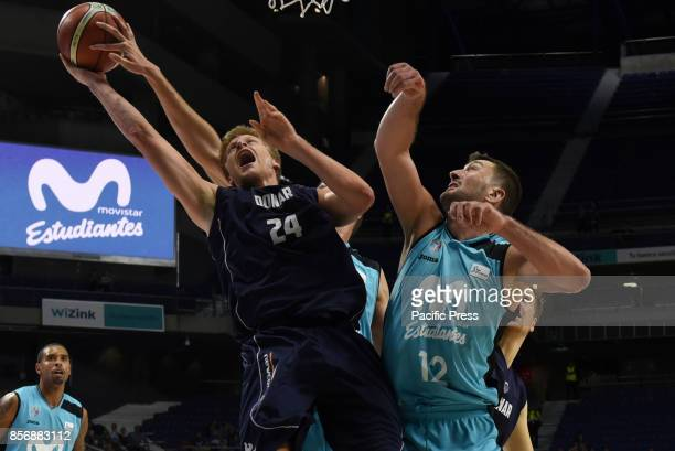 Evan Bruinsma #24 of Donar Groningen in action during the second game of Qualification Round for the basketball Champions league between Estudiantes...