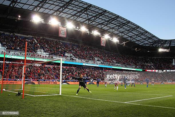 Evan Bush of Montreal Impact celebrates after saving a penalty kick from Sacha Kljestan of New York Red Bulls during the New York Red Bulls Vs...