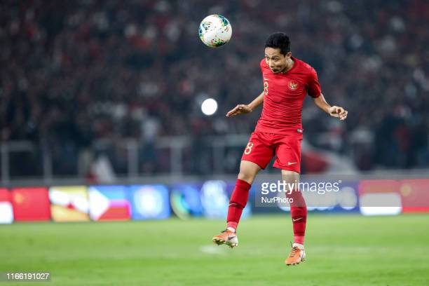 Evan Dimas Darmono of Indonesian's in action during FIFA World Cup 2022 qualifying match between Indonesia and Malaysia at the Gelora Bung Karno...