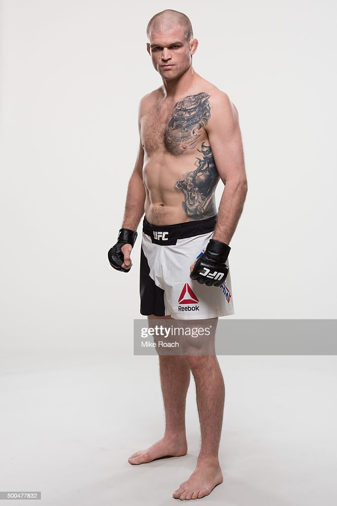 Evan Dunham of the United States poses for a portrait during a UFC portrait session at MGM Grand Garden Arena on December 8, 2015 in Las Vegas, Nevada.