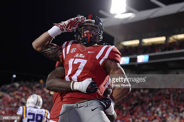 Evan Engram of the Mississippi Rebels celebrates a touchdown during the third quarter of a game against the LSU Tigers at VaughtHemingway Stadium on...