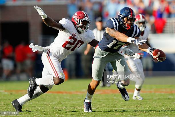 Evan Engram of the Mississippi Rebels fails to pull in a reception against the Alabama Crimson Tide at VaughtHemingway Stadium on September 17 2016...