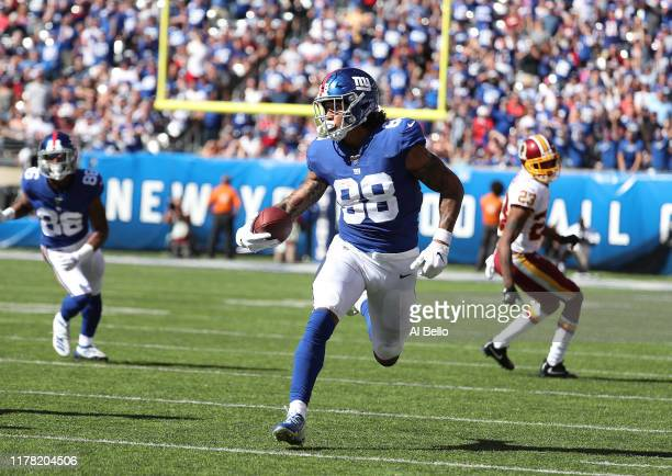 Evan Engram of the New York Giants in action against the Washington Redskins during their game at MetLife Stadium on September 29 2019 in East...