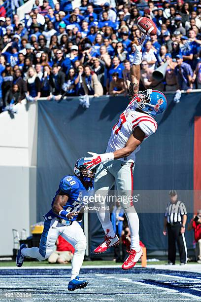 Evan Engram of the Ole Miss Rebels jumps but cannot reach a pass in the end zone during a game against the Memphis Tigers at Liberty Bowl Memorial...