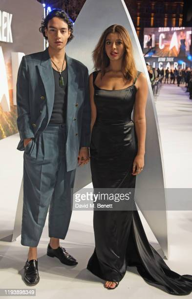 Evan Evagora and Summer Kane attend the European Premiere of Amazon Original Star Trek Picard at Odeon Luxe Leicester Square on January 15 2020 in...