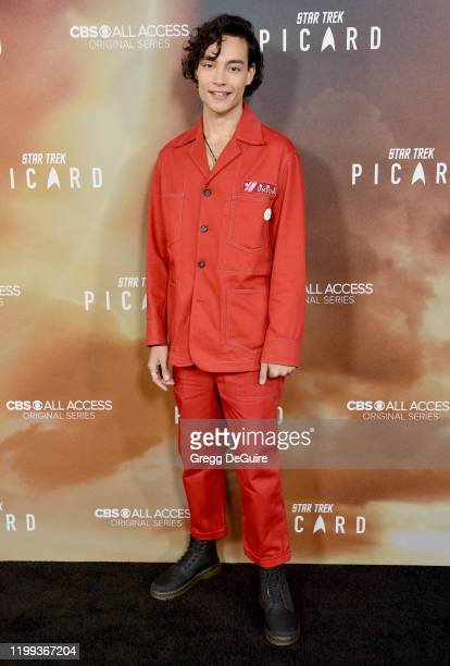 """Evan Evagora attends the Premiere of CBS All Access' """"Star Trek: Picard"""" at ArcLight Cinerama Dome on January 13, 2020 in Hollywood, California."""