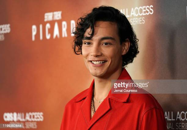 """Evan Evagora attends the premiere of """"Star Trek: Picard"""" at ArcLight Cinerama Dome on January 13, 2020 in Hollywood, California."""