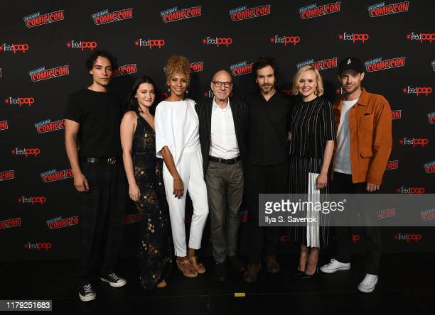 Evan Evagora Isa Briones Michelle Hurd Sir Patrick Stewart Santiago Cabrera Alison Pill and Anthony Rapp pose for a photo during New York Comic Con...