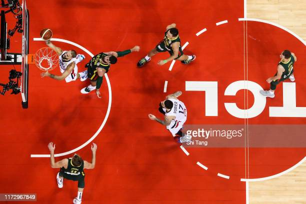 Evan Fournier of France drives during 2nd round Group L match between France and Lithuania of 2019 FIBA World Cup at Nanjing Youth Olympic Sports...