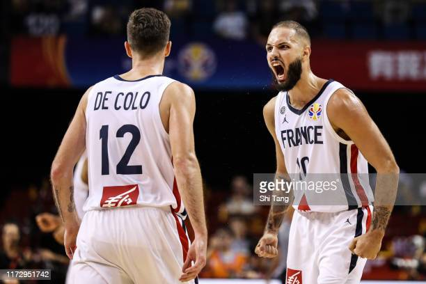 Evan Fournier of France reacts during 2nd round Group L match between France and Lithuania of 2019 FIBA World Cup at Nanjing Youth Olympic Sports...