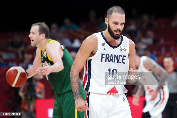 Evan Fournier celebrate a score during the 3rd place game of 2019 FIBA World Cup match between France and Australia at Beijing Wukesong Sport Arena...