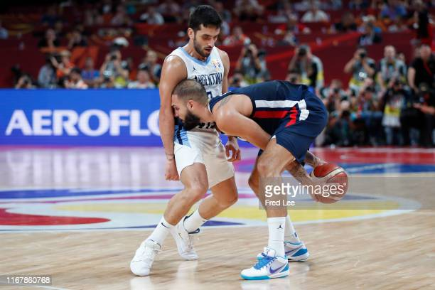 Evan Fournier of France in action during the semifinals of 2019 FIBA World Cup match between Argentina and France at Beijing Wukesong Sport Arena on...