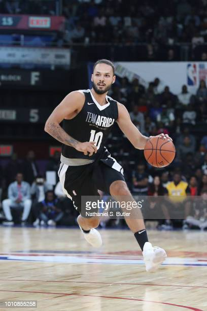 Evan Fournier of Team Africa handles the ball against Team World during the 2018 NBA Africa Game as part of the Basketball Without Borders Africa on...