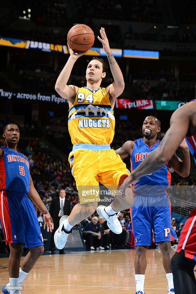 Evan Fournier #94 of the Denver Nuggets shoots the ball against the Detroit Pistons on March 19, 2014 at the Pepsi Center in Denver, Colorado.