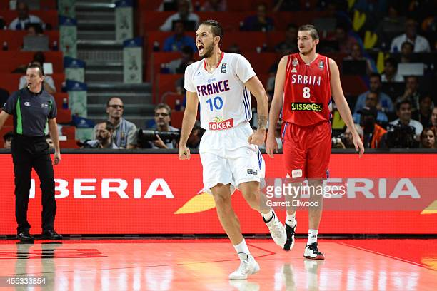 Evan Fournier of the France National Team reacts in the game against the Serbia National Team at Palacio de Deportes on September 12, 2014 in Madrid,...