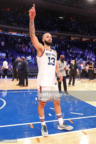Evan Fournier of the New York Knicks points to the fans after the game against the Boston Celtics on October 20, 2021 at Madison Square Garden in New...