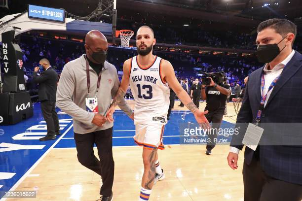 Evan Fournier of the New York Knicks runs off the court after the game against the Boston Celtics on October 20, 2021 at Madison Square Garden in New...