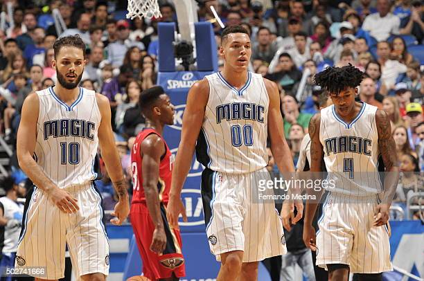 Evan Fournier of the Orlando Magic Aaron Gordon of the Orlando Magic and Elfrid Payton of the Orlando Magic during the game against the New Orleans...