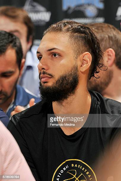 Evan Fournier of the Orlando Magic attends the game against the New York Knicks on July 6 2016 during the 2016 Orlando Summer League at the Amway...