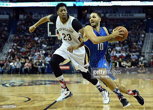 Evan Fournier of the Orlando Magic drives to the basket against Anthony Davis of the New Orleans Pelicans during the second half of a game at the...